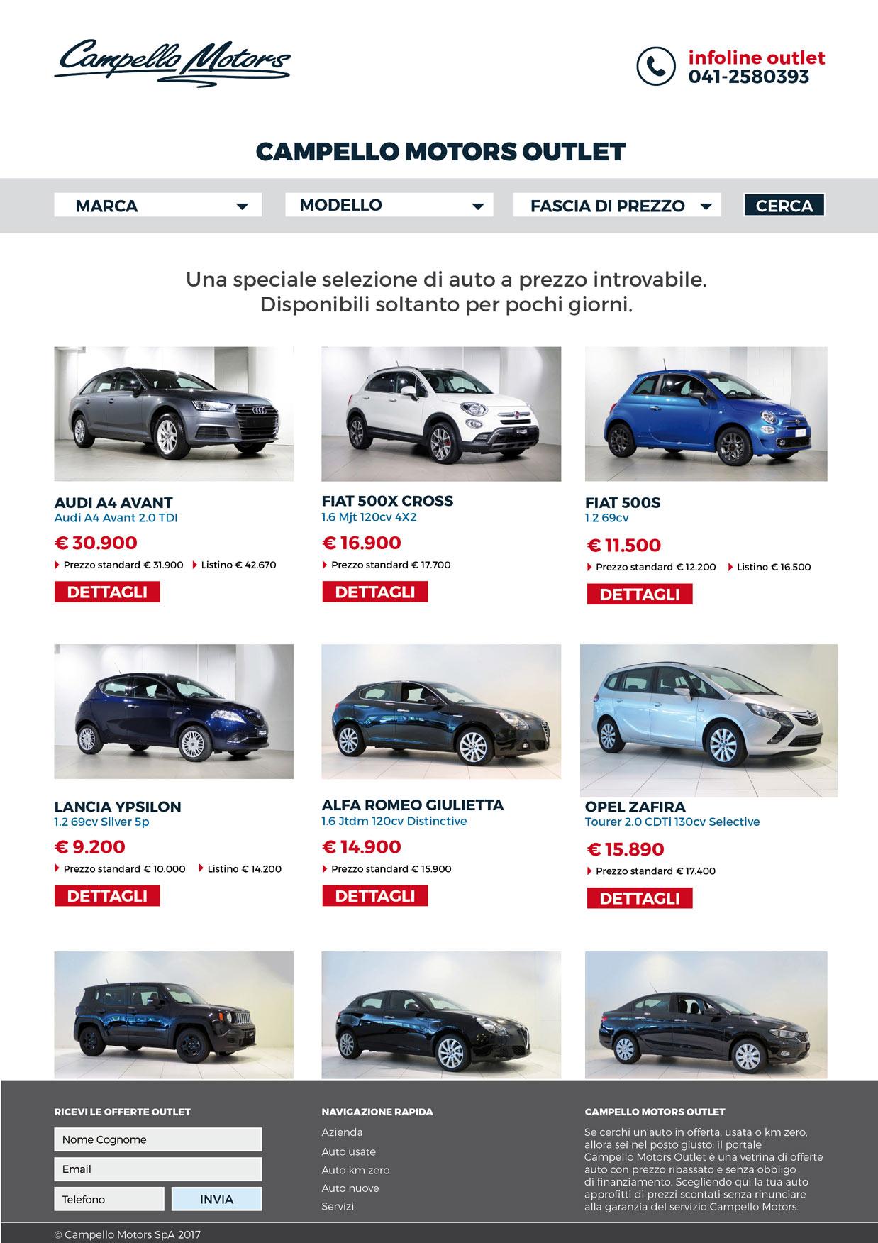 Campello Motors Outlet, il nuovo portale